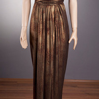 UNIQUE Bronze Long Dress with hand-made beaded accessory diff. Styles