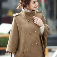 Cape Shawl Wool Coat Beige$70.00