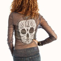 skull-embroidered-metallic-top NAVY OLIVE - GoJane.com