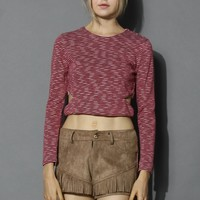 Cutout Waist Striped Crop Top in Red Red S/M