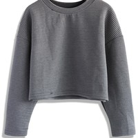 Quilted Striped Crop Top in Grey Grey S/M