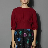 Mid-sleeves Faux Suede Top in Wine Red S/M