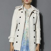 Off-white Floral Lace Double-breasted Trench Coat White