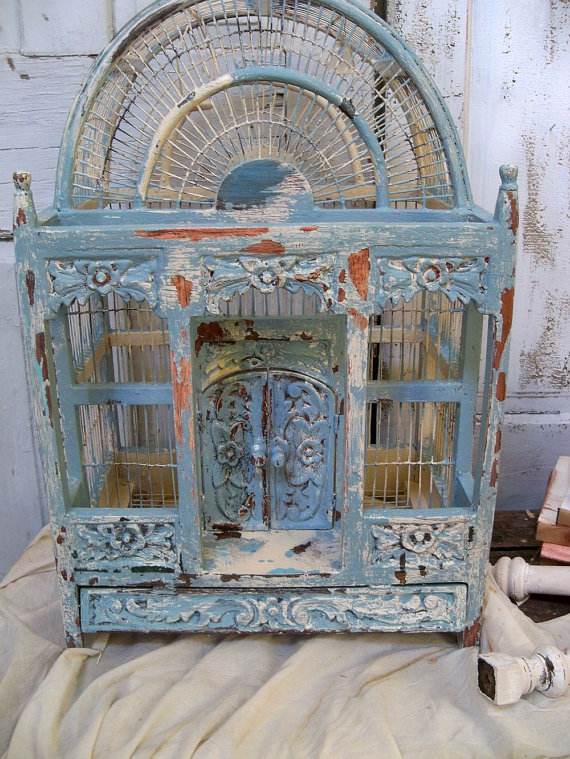 birdcage wooden hand painted carved from AnitaSperoDesign