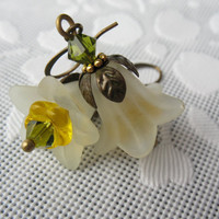 Victorian Flower Earrings - Lucite, Yellow Glass, Olivine Swarovski Crystals, Antique Brass