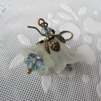 Victorian Flower Earrings - Lucite, Light Blue Glass, Light Blue Swarovski Crystals, Antique Brass