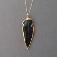 Amazing Black Obsidian Arrowhead Gold Necklace