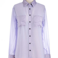 Lavender Patch Top | Mod Retro Vintage Long Sleeve Shirts | ModCloth.com