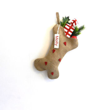 Personalized Dog Christmas Stocking,  Holiday Pet Gifts,   Unique dog bone stocking, doglover gift, pet stocking, pet christmas, pets lovers