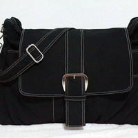 Black Canvas Bag handheld bag, shoulder bag, messenger bag