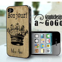 iPhone 4/4s case, Bonjour Burlap design, custom cell phone case