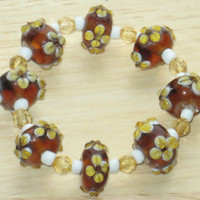 Beaded, Stretch Bracelet in Brown and Yellow