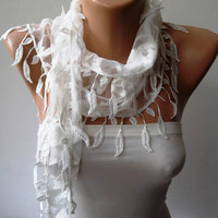 White Scarf with White Trim Edge Shaped Leaves - Summer Scarf
