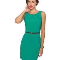Darling Belted Dress - Teal Dress - Sleeveless Dress - $41.00