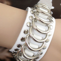 Punk Rock Style Women White Leather Bracelet Women Jewelry Bangle  1275A