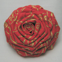 Christmas Barrette Red Swirl Fabric Flower