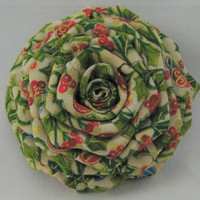 Christmas Barrette Green Holly Fabric Flower