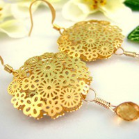 Gold flower cut citrine drop earrings