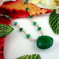 Green onyx rosary necklace