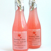 Sparkling Cherry Bubble Bath or Body Wash  Party Favor Anniversary Birthday  Wedding Favor