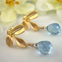 Triple gold leaf Swiss blue quartz drop earrings