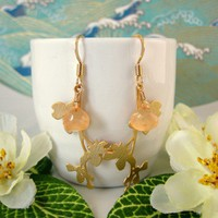Peach Wildflower Gold Dangle Earrings