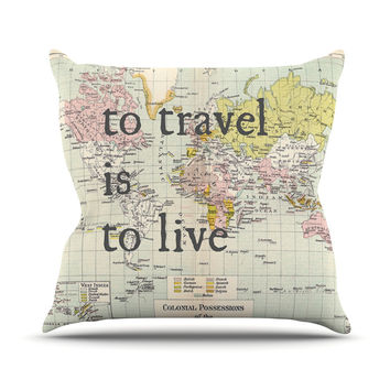 "Catherine Holcombe ""To Travel Is To Live"" Color Map Throw Pillow"