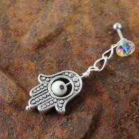Hamsa Hand Tragus Piercing Evil Eye Cartilage Barbell Dangle