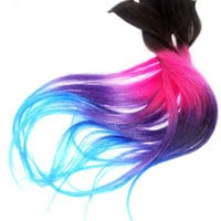 Ready to Ship/Four Clip Ins -Pink/Blue/Purple/Turquoise Extension /Tips Dip Dyed/Weft Clip Extensions - Ombre -18inch Brown/Blonde/ or black