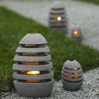 Stone Egg Candle Lanterns - VivaTerra