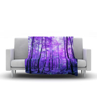 "Iris Lehnhardt ""Magic Woods"" Purple Forest Fleece Throw Blanket"