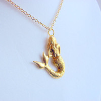 Mermaid Charm Necklace - Raw Brass - Ocean Beach Seashore