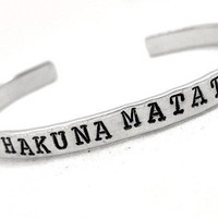 Hakuna Matata Hand Stamped Bracelet, Disney Inspired, Customizable