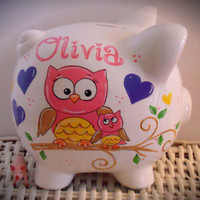 Personalzied Hand Painted Piggy Bank With Owl Theme