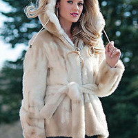 Ivory Stenciled Mink Faux Fur Parka | Fabulous-Furs