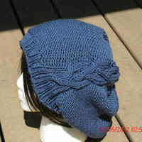 Hand knit Hat  The Cableret in Country Blue Womens Hat Womens Fall Winter Fashion Accessories