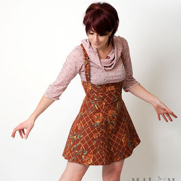 high waisted jumper skirt with suspenders from malam on etsy