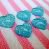 Kawaii Cabochon Blue Heart w Glitter 5 Pieces