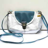 VEGAN Silver Metallic Cotton Canvas Cross Body Shoulder Bag Purse Clutch with Vinyl Teal Blue Flap Adjustable Detachable Strap