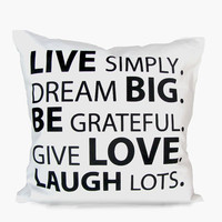 Live Simply Quote Pillow Cover - White / Blk