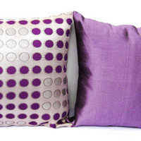 Throw Pillow Set of 2, Combo Set, Purple Silver Throw Pillows, Decorative, Purple, Amethyst, Silver, 18x18 - &#x27;Mauve Madness&#x27;
