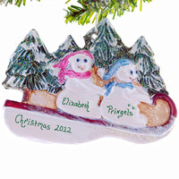 Personalized Snowmen Christmas ornament - couples ornament - first Christmas ornament - friends ornament - pet ornament