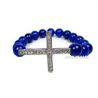 Blue Mashan Jade Sideways Cross Bracelet