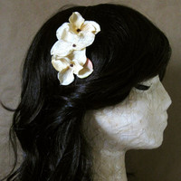 Josie Headband - Buttermilk Light Cream Fabric Flowers on Chocolate Brown Ribbon Wrapped Band - Woodland Garden Rustic Gift