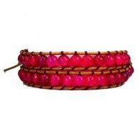 Double Row Fuchsia Agate Leather Wrap Bracelet