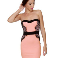 Sexy Pink Dress - Lace Dress - Strapless Dress - $40.00