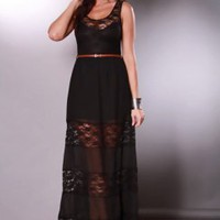 Black Scoop Neck Sleeveless Lace Detail Belted Maxi Dress