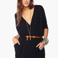 Draped Across Dress - Black