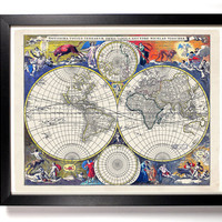 World Map Antique Illustration  8 x 10 Giclee Art Print Upcled Collage Recycled Book Art Buy 2 Get 1 FREE