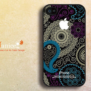 iphone 4s case black iphone case iphone 4 cover sweet colorized classic blue yellow flower unique Iphone case